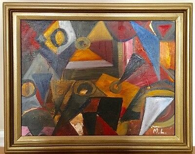 Vintage Mid Century Abstract Expressionist Geometric Hard Edge Oil Painting