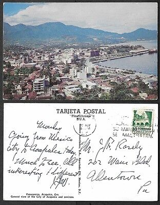 Old Mexico Postcard - Accapulco - Panoramica View
