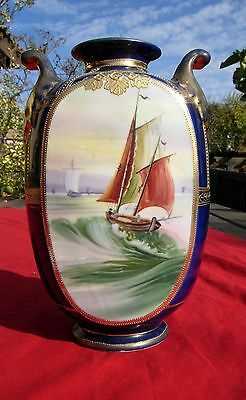 Nippon Beautiful Large  Vase Boats Sailing Ship LARGE Sea water vintage old