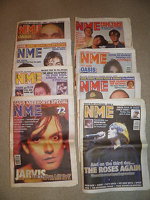 NME - 1996-1997 - 8 issues all containing  Oasis Noel Gallagher  Knebworth