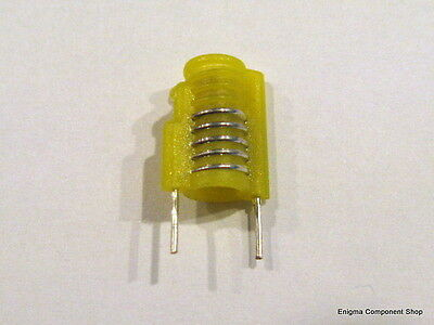 Miniature Moulded Variable Inductor. 4.5t, Yellow, 40-68nH. 'Mini S18' UKSeller.