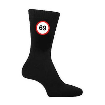 69 MPH Road Sign Years Old Age Mens Black SOCKS Christmas Birthday Present Gift