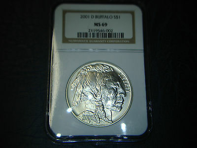 USA 1$ Dollar 2001-D NGC MS69 - Baffalo Indianer Büffel - Silber Coin !! TOP !!
