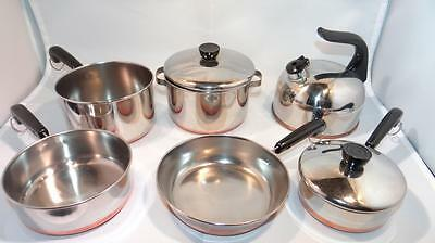 Vintage Revere Ware Miniature Child Toy Cook Ware Set Copper Bottom