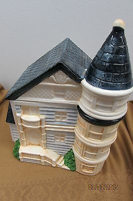 Vintage Hand Painted Ceramic Victorian House Cookie Jar / Made in Taiwan