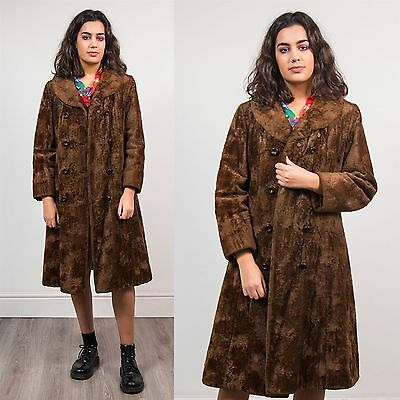 Vintage Chocolate Brown Teddy Bear Faux Fur Coat Jacket Double Breasted 12 14