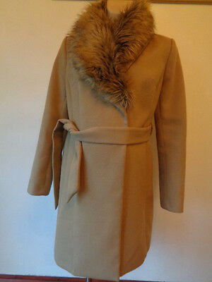 New Look Maternity Camel Fur Collar Belted Mac Jacket Coat Size 10