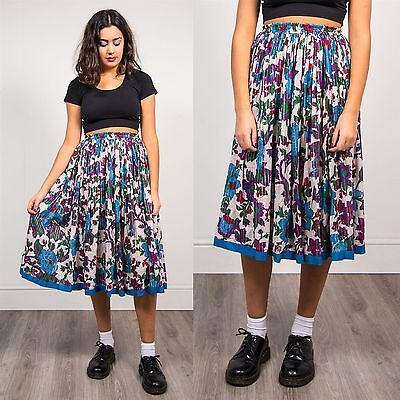 Womens Vintage 70's Floral Pattern Midi Skirt Pleated Bright Boho Hippie 8 10