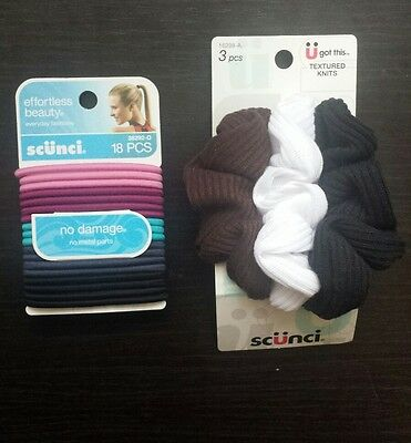 Scunci hair elastics two pack bundle