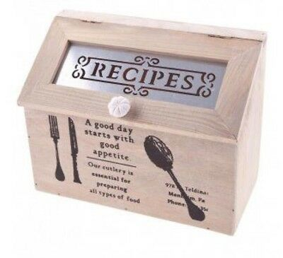 Rustic Wood Vintage Inspired Recipe Box Country Shabby Chic Storage