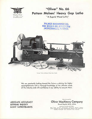 Oliver No. 66 Pattern Mackers Heavy Gap Lathe  Brochure