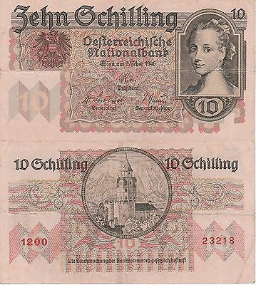 Austria 10 Schilling Banknote 2.2.1946 Very Fine Condition Cat#122-3218