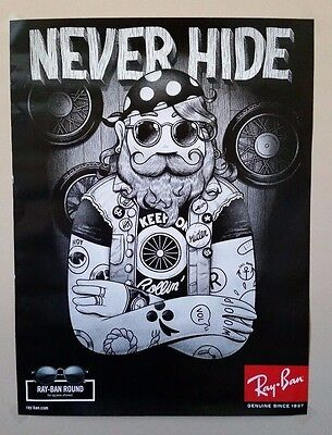 """Ray-Ban Round NEVER HIDE Biker Poster 18"""" x 24"""" Heavy Stock--new in package"""