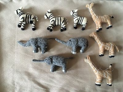 8 Cloth Christmas Ornaments Zoo Animals -Zebra, Elephant & Giraffe