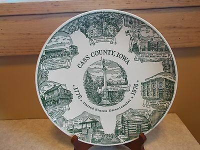 Vtg 1976 Cass County IA Collectable Plate Kettlesprings Kilns Alliance OH 2926-S