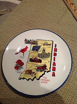"""Vintage INDIANA SOUVENIR PLATE-The Hoosier State 7"""""""