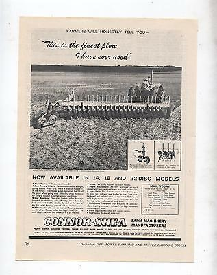 Connor Shea Plow Advertisement removed from 1963 Farming Magazine Tractor Plough