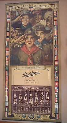 Original WW 1  WW 2 Norman Rockwell Boy Scouts of the World Calendar 1933 Framed