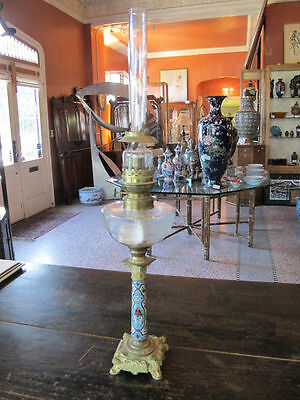 Antique c1900 Wild & Wessel KOSMOS Berlin FRENCH Style Tall CHAMPLEVE Oil Lamp