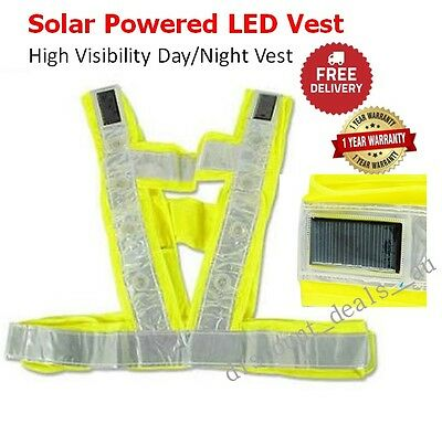 Solar Powered LED Safety Vest Reflective Work Construction Run High Visibility