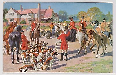(K13-12) 1910 Germany post card gathering the hounds &Horses (C)