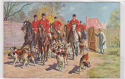 (K13-11) 1910 Germany post card hounds& horse riding (B)