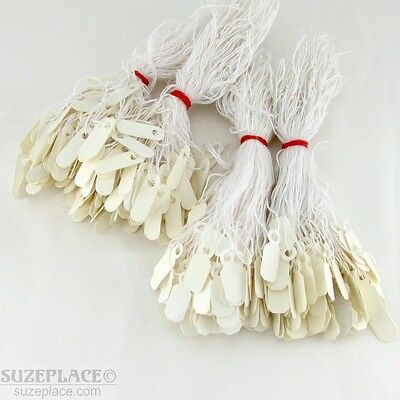 400 Piece Lot Of Small Strung White/cream Jewelry Price Tags 2 Kinds 200 Of Each