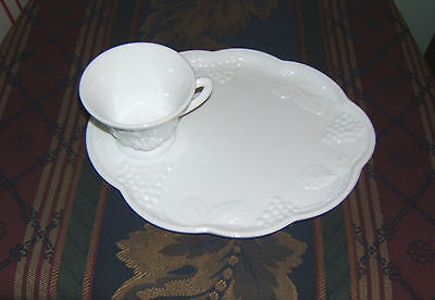 Indiana White Milk Glass Vintage Harvest Grape Luncheon Snack Plate & Cup