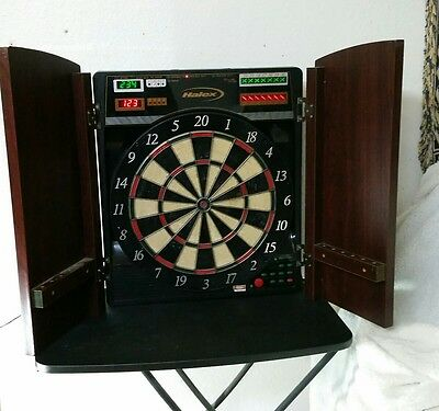 Vintage Halex Cricketview Electronic Dartboard Wood Cabinet With Power  Adapte