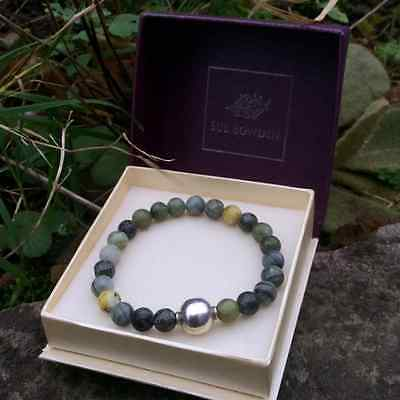 Connemara marble bracelet with sterling silver bead. Irish jewellery gift