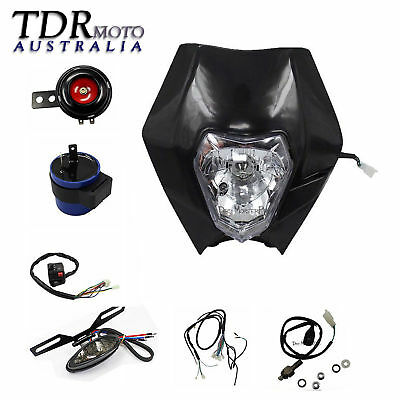 BLACK Rec Reg Head Light Kit + Strips PIT Trail Dirt Motrocycle Motorcross Bikes