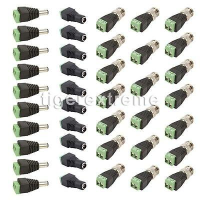 10 Set Coax Cat5/Cat6 to BNC Video Balun Connector Adapter for Camera CCTV US!