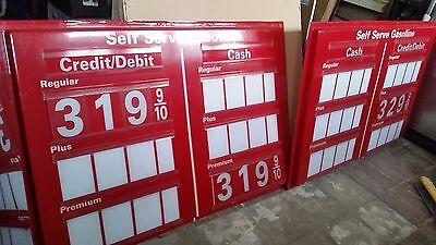 """2 Panels Of Gas Station Dual  Price Sign (60"""" By 41"""") With Numbers"""