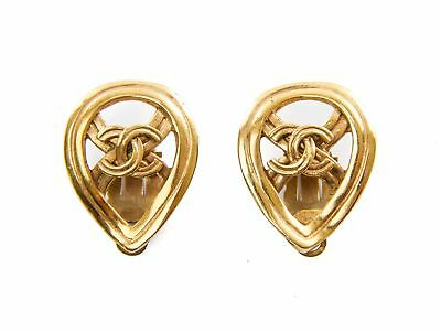 Authentic Chanel Vintage Tear CC logo Clip Earrings
