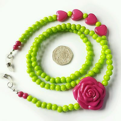Glasses Chain - Hot Pink Lime Green Acrylic - Spectacle Cord - neck strap