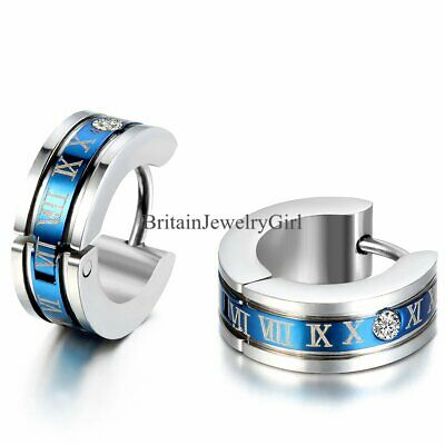 Cool Roman Numeral Stainless Steel Ear Huggie Hoop Stud Earrings Gifts for Men