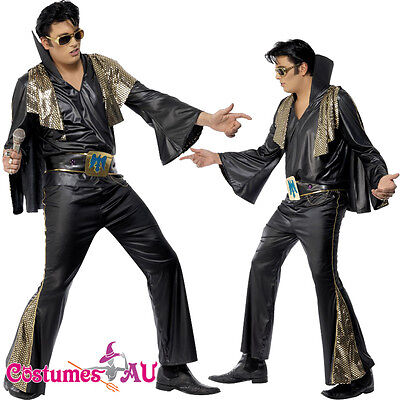 Mens Elvis Presley Black Gold Costume Rock and Roll 50s 1950s Star Fancy Dress