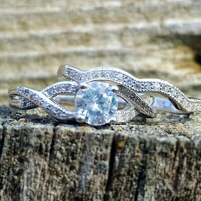 .925 Sterling Silver Wedding Set CZ ring size 6 Engagement Bridal Ladies New z38