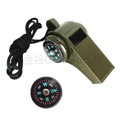 Quality 3-in-1 Survival Multifunctional Whistle with Compass Thermometer Lanyard