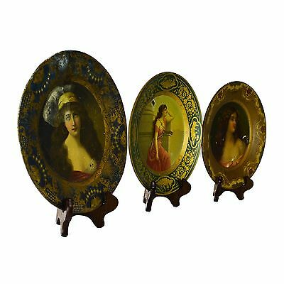 3 Lot Beach Meek Lithograph Serving Coin Serving Tin Tray Women Vintage Antique
