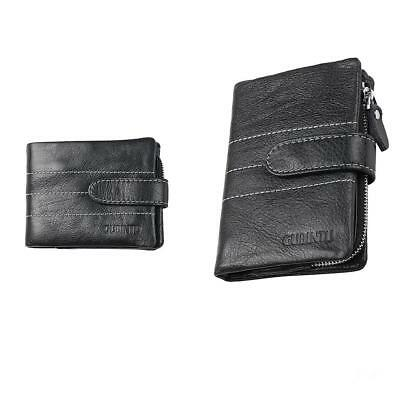 New Genuine Leather Mens Women Wallet ZIPPER Coin Purse Vintage Retro Style