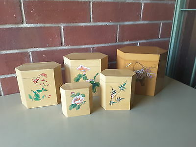 Vintage SET FIVE  Wooden  ASIAN WRITING FLOWERS Top Kitchen Cannisters