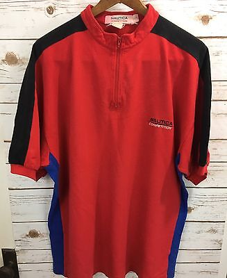 90s Nautica Competition Shirt Mens Mesh Half-Zip Spell Out 2XL USA MADE RED LOGO