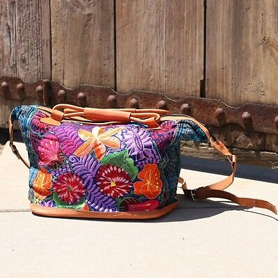 Hand Crafted Leather Embroidered Guatemalan Travel Bag