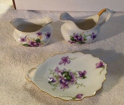 Leaf Dish Spring Violets Rossetti Hand Painted Made Occupied Japan
