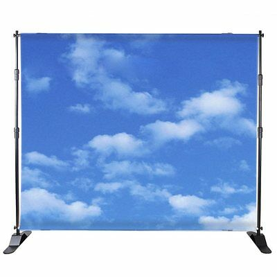 BANNER STAND TELESCOPIC SHOW DISPLAY 8'x 8' TO 10' x 8' BACKDROP CARRY BLACK