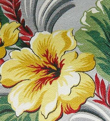 1940s/50s Vintage Yellow/Green Hibiscus and Leaf Print BarkCloth - Unused - BTY!