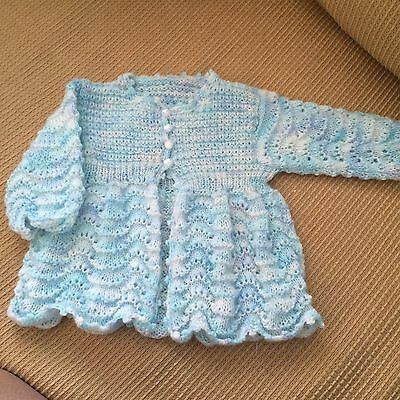 Birth To 6 Months Baby Hand Knitted Jacket, Cardigan New Born Variegated Blues