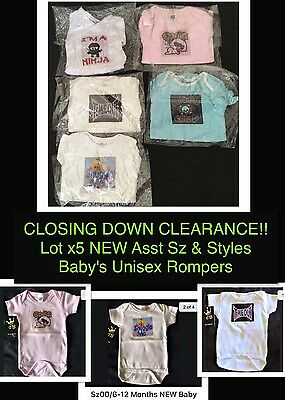 CLOSING DOWN SALE!! Lot x5 NEW Asst Baby's Unisex Printed Onesies Sz9-12M