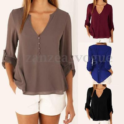 Women Casual V-Neck Long Sleeve Chiffon T Shirts Buttons Basic Blouse Loose Tops